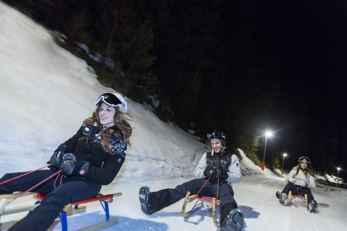 night tobogganing in Obereggen